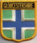 Gloucestershire Embroidered Flag Patch, style 07.